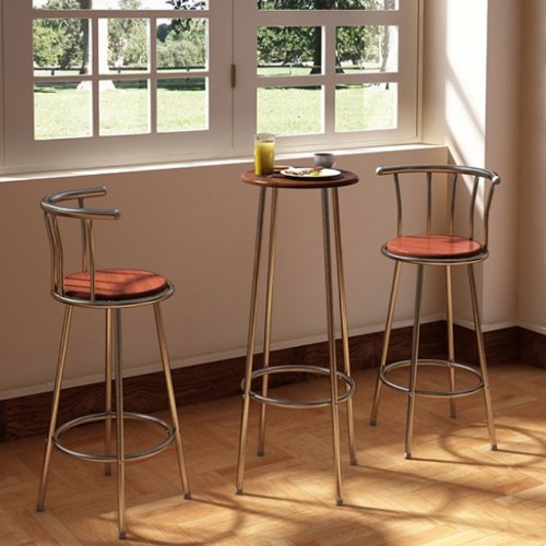 WMicroUK Top Quality Life Bar/Disco/Kitchen/Breakfast Table and Chair Set Steel