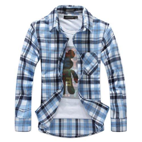 juanshi men 39 s slim fit check flannel shirt color light blue
