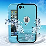 Comsoon(TM) Waterproof Case for Apple iPod Touch 5th Generation Waterproof Heavy Duty Defender iPod Touch 5 Case, iPod 5 Cases For Boys Girls Kids, Built-in Touch Screen Protector for Better Shockproof Dirtproof Snowproof Dustproof Sweatproof, Kickstand for Viewing Hands Free (Blue)