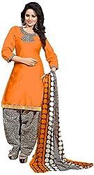 Airboyz Women's Cotton Unstitched Dress Material (Orange)