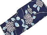 浴衣レディース浴衣単品綿100%変り織銀ラメ加工紺×花柄616160B2