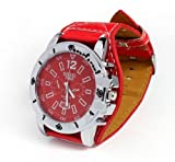 amtonseeshop New Leather Fashion Oversized Men Quartz Luminous Hands Wrist Watch Gift Red