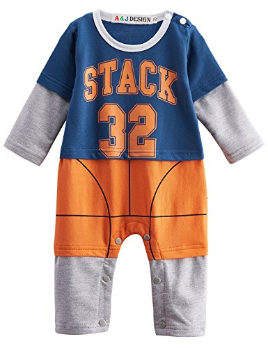A&J Design Baby Boys' Sports Romper Outfit (12-18 Months, Basketball) (Aj 16 compare prices)