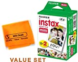 Fujifilm Instax Mini Fuji Instant Film Twin Pack BUNDLE: 2x10 Sheets for 20 Pictures! BONUS-FREE Wiki Deals Colorful Micro Fiber Cloth!