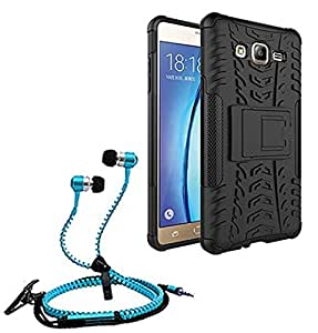 Droit Shock Proof Protective Bumper back case with Flip Kick Stand for Samsung ON7 + Stylish zipper hand free for all smart phones by Droit Store.