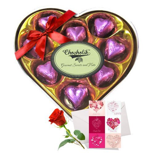 Valentine Chocholik's Luxury Chocolates - Cheerful Chocolates Collection With Love Card And Rose