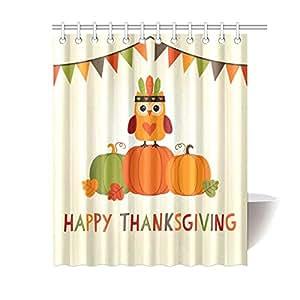 Happy thanksgiving owl pumkin waterproof for Bathroom decor amazon