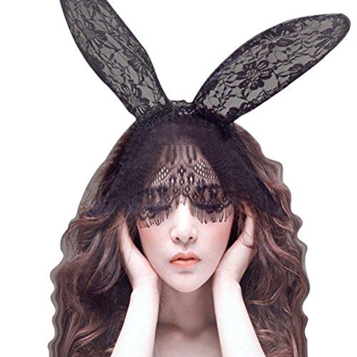 FENICAL Halloween Sexy coniglio coniglio orecchie Hairband pizzo velo Costume travestimento maschera per donne signora (Bunny Velo)