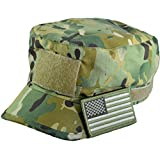 Tactical Multicam Camo Military Army Camouflage Adjustable Patrol Fatigue Cap with USA Flag Patch (Multitan)