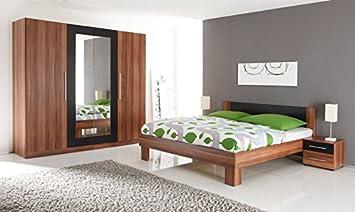 AVANTI TRENDSTORE - Schlafzimmerset - Walnuss/schwarz Dekor - 2 Nachtkommoden, 1 Kleiderschrank und 1 Bett im Angebot enthalten