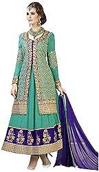 Begum Riwaaz Women's Georgette Unstitched Dress Material (4504, Green)
