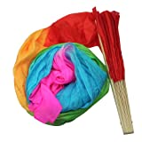 AllLife New 1.8M Hand Made Belly Dance Dancing Silk Bamboo Long Fans Veils Art Colorful