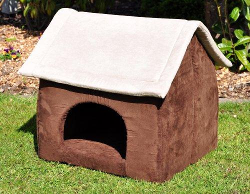 nanook-Hunde-Hhle-Hunde-Haus-COSY-fr-groe-Hunde-XL-und-XXL-Wildleder-Optik-braun-grau-Indoor
