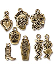TierraCast 8 Piece Day Of The Dead Mix Charms, Antique Gold