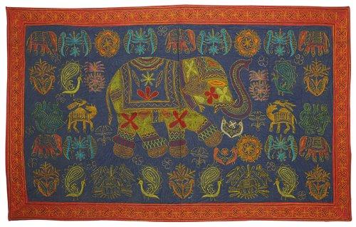 Imagen 2 de Vintage Indian Elephant Tapiz colgante de pared Throw Art Antique Decor India Tamaño 60 x 37 pulgadas