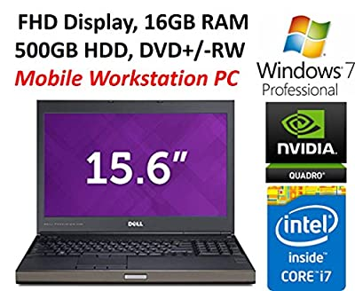 Dell Precision M4700 Mobile Workstation Laptop, 15.6-inch FHD Display, Intel Core i7-3840QM, 16GB RAM, 500GB HDD, DVD+/-RW, Nvidia K2000M 2GB Graphics, Windows 7 PRO (Certified Refurbished)