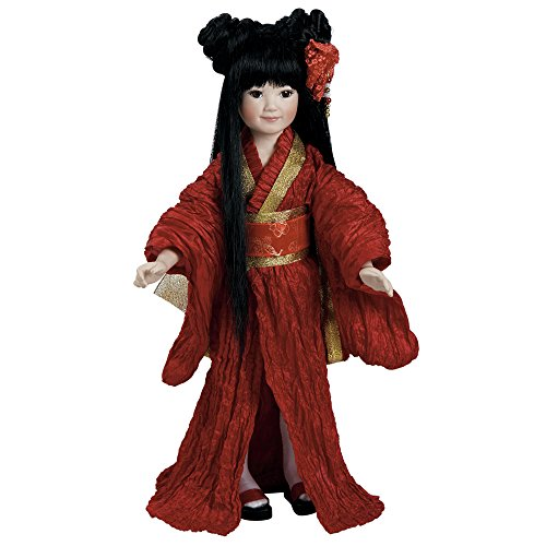 Paradise Galleries Japanese Doll, Miyoko- Asian Porcelain Doll Stands 14.5 inches