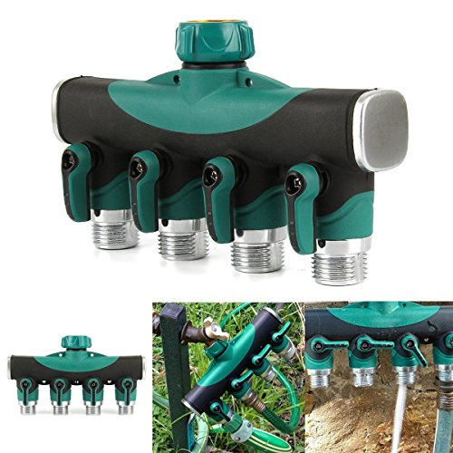 Toch 4-way Garden Hose To Hose Connector, Watering Splitter, Hose Faucet With
