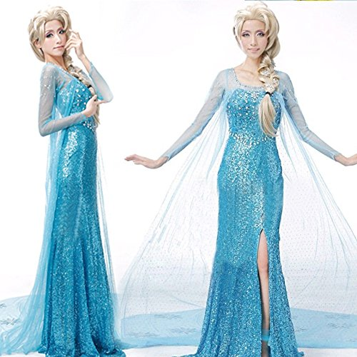 Valley Wear Adult Woman's Frozen Elsa Big Party Dress with Matching Bracelet