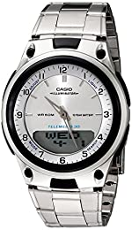 Casio Men's Casual Sports AW80D-7AV Silver Stainless-Steel Quartz Watch with Silver Dial