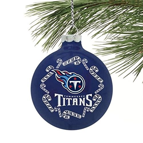 "Tennessee Titans NFL 2 5/8"" Painted Round Candy Cane Christmas Tree Ornament"