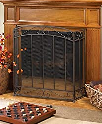 Rustic Fireplace Screens Bronze Spark Guard Three Panel Decorative Iron Mesh Flat Antique Screen by DecorDuke