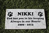 Sandblast Engraved Marble Pet Memorial Headstone Grave Marker Dog Cat keep 6x12