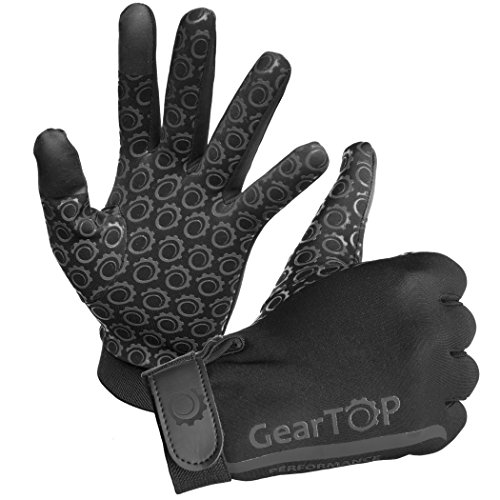 GearTOP Performance Touch Screen Gloves - Great for Running, Rugby, Cycling, Golf, Football, Hunting, Walking For Women and Men (Black,