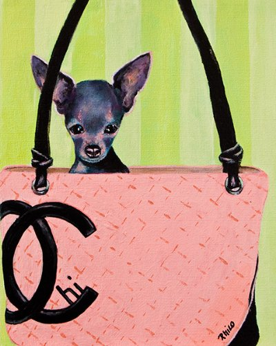 CHIHUAHUA PAINTING CHANEL PURSE BAG HANDBAG GICLEE PRINT