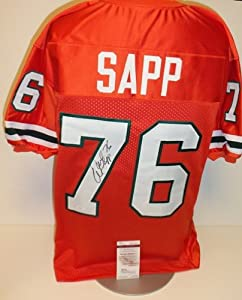 Miami Hurricanes - Warren Sapp Autographed Hand Signed Custom Orange Jersey - with... by Real+Deal+Memorabilia
