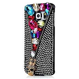 Samsung Galaxy S6 Active Case, Sense-TE Luxurious Crystal 3D Handmade Sparkle Glitter Diamond Rhinestone Ultra Thin Clear Cover with Retro Bowknot Anti Dust Plug - Skull Jewelry / Colorful