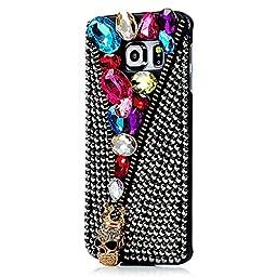 Samsung Galaxy S6 Active Case, Sense-TE Luxurious Crystal 3D Handmade Sparkle Glitter Diamond Rhinestone Ultra Thin Clear Cover with Retro Bowknot Anti Dust Plug - Skull Jewelry / Colorful