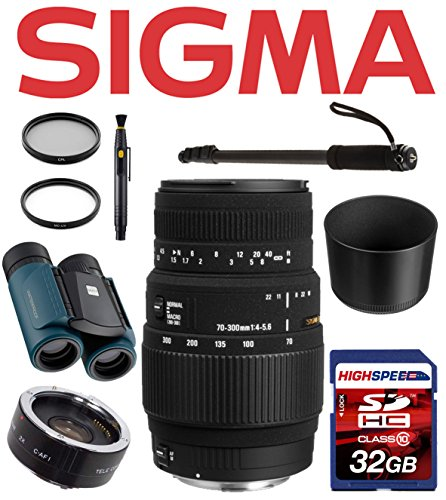 Sigma Deluxe Safari Kit For Canon Dslr Cameras W/ Monopod, Gadget Bag, 32Gb, Waterproof Binoculars 8X21