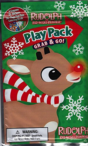 Rudolph the Red Nosed Reindeer (Green Pack) Play Pack Grab & Go Fun Pack (Includes Stickers, Crayons & Fun Sized Coloring Book) - 1