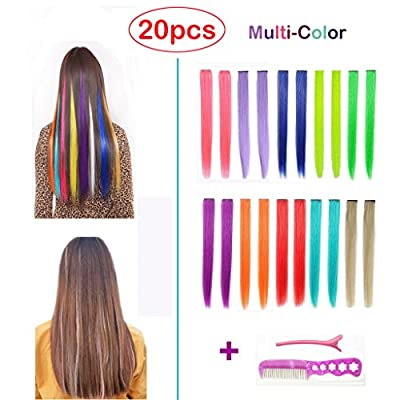 Best Cheap Deal for Hawkko 20PCS Straight Colored Clip in Hair Extensions Party Highlight Multiple Colors Hairpieces, With Gift Alligator Hair Clip & Steel Comb (20pcs-Monocolor Full Color Set) from HawkkoDirect - Free 2 Day Shipping Available