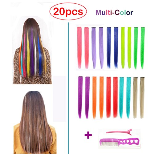 Straight Colored Clip in Hair Extensions