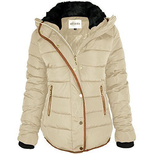 womens-ladies-quilted-winter-coat-puffer-fur-collar-hooded-jacket-parka-size-new-uk-10-beige-cream-b