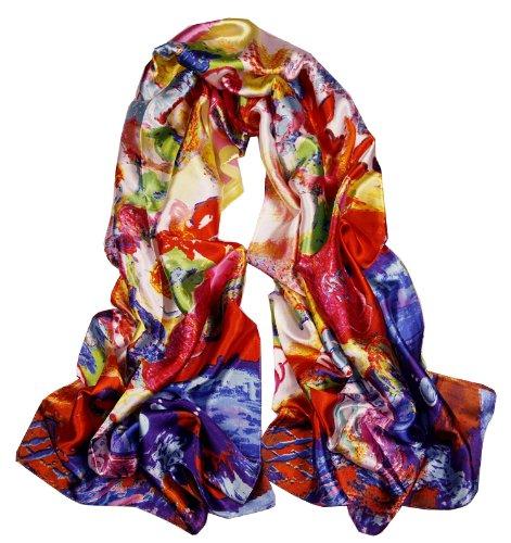 Oblong Satin Oil Painting Design Long Silk Scarf Shawl (ls5032)
