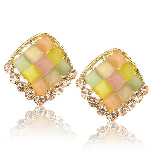 Ladies Luxury Multi Rhombus Cat Eye Gem Rhinestone Golden Tone Stud Earrings B1750K