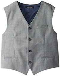 Calvin Klein Big Boys\' Sharkskin Blue Deco Vest, Light Grey, Small