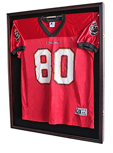 XX Large Football/Baseball/Hockey Uniform Jersey Display Case frame, UV Protection ULTRA CLEAR, LOCKS-Mahogany Finish (JC02-MA)
