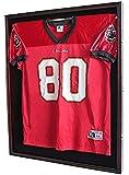 XXL Football/Baseball/Hockey Uniform Jersey Display Case frame, UV Protection ULTRA CLEAR, LOCKS-Mahogany Finish (JC02-MA)
