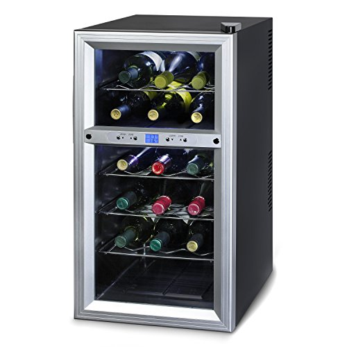 Kalorik Thermoelectric Dual-Zone 18-Bottle Ventilated Wine Cooler, Stainless Steel/Black