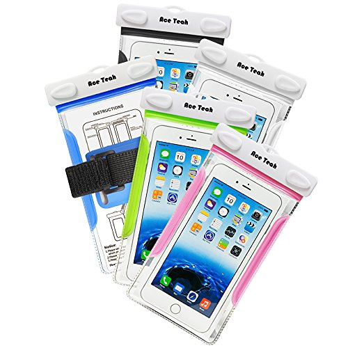 Ace Teah Universal Waterproof Case Clear Snowproof Dirtproof Cellphone Pouch Dry Bag Case Cover for Outdoor Activities Swimming, Surfing, Fishing, Skiing - Blue, Green, Black, White, Pink (5 Pack) (Heat Sensitive Iphone Case compare prices)