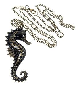 niceeshop(TM) Vintage Seahorse Pendant Necklace Aquatic Organism,Black