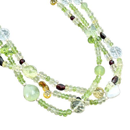 925 Sterling Silver Artisan Garnet Peridot White Topaz Citrine Gemstone Beads Strand Necklace Size 18 Inches