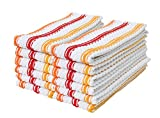 J & M Home Fashions Fiesta Stripe Kitchen Towel (Pack of 12), Red/Orange