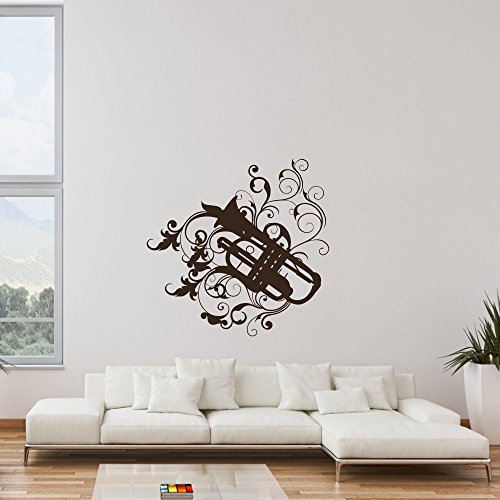 Wandtattoo-Trompete-Instrument-Musik-Wanddesign-Wanddekoration-Jugendzimmer-Wand-Tattoo-Design-Dekoration