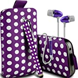 Samsung Galaxy Ace Style Supreme Protection Polka Faux Leather Pull Tab Cord Pouch Skin Cover Quick Release Case, Polka Stylus Pen & Supreme Quality in Ear Buds Stereo Hands Free Headphones Headset with Built in Microphone Mic & On-Off Button Purple & Wh