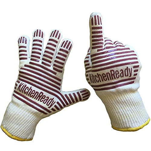 Premium Cooking Gloves, Heat Resistant, Oven BBQ Mitts by KitchenReady, 100% Cotton Lining, Silicone Stripes for Ultimate Safe Grip, Baking, Barbecue, Grilling, Kitchen, Chef Supplies Accessories (Oven Gloves Small compare prices)